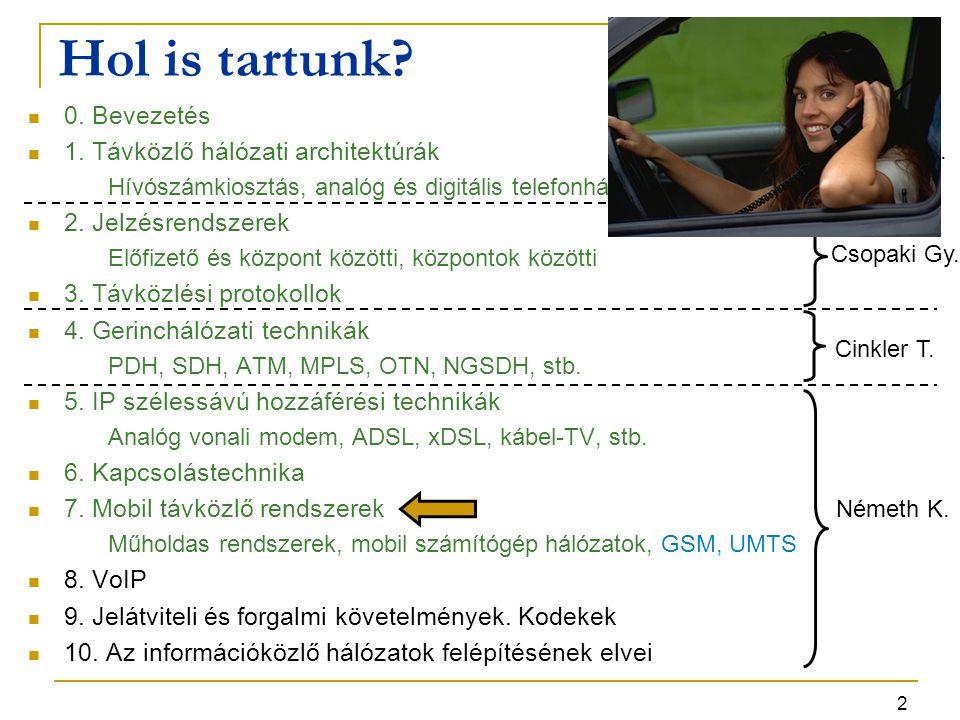 13 UMTS szolgáltatások -- 2 UMTS távszolgáltatás  beszédátvitel: Adaptive MultiRate (AMR) kodek: ld.