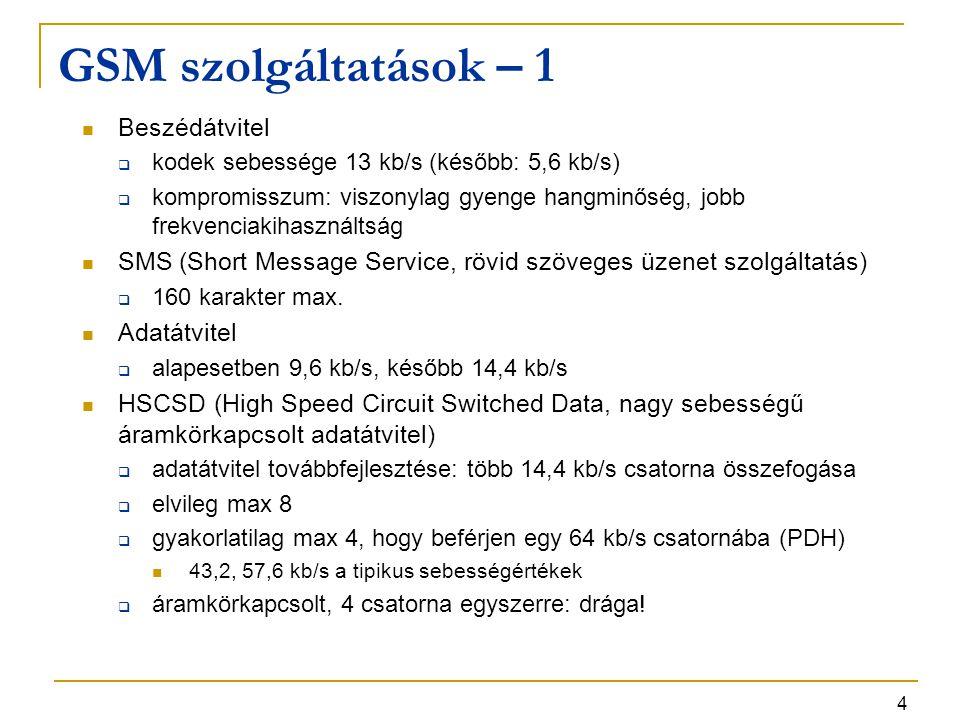 4 GSM szolgáltatások – 1 Beszédátvitel  kodek sebessége 13 kb/s (később: 5,6 kb/s)  kompromisszum: viszonylag gyenge hangminőség, jobb frekvenciakih