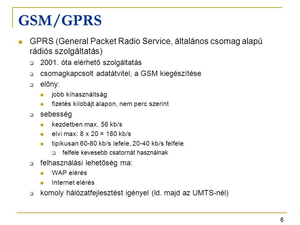 6 GSM/GPRS GPRS (General Packet Radio Service, általános csomag alapú rádiós szolgáltatás)  2001. óta elérhető szolgáltatás  csomagkapcsolt adatátvi
