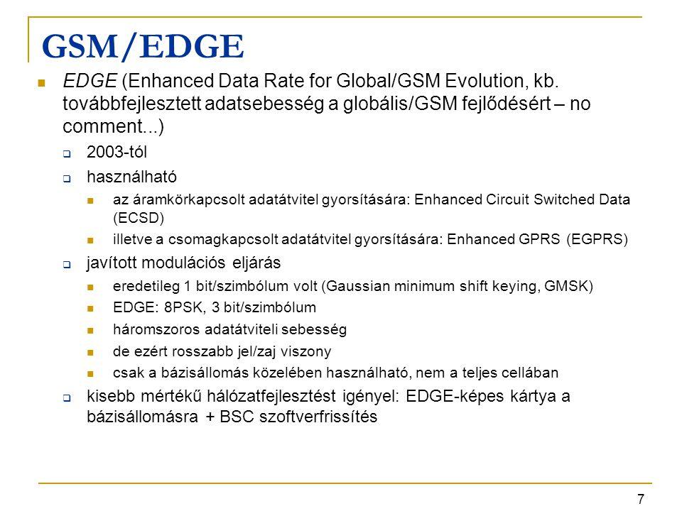 8 EDGE modulációk Az ábra 1 időrésre vonatkozik Elvileg max 8 időrés fogható össze Egy mai mobil végberendezés felfele irányban 1-4, lefele 1-5 időrést tud összefogni (egy adott eszköz lefele tipikusan többet, mint felfele)