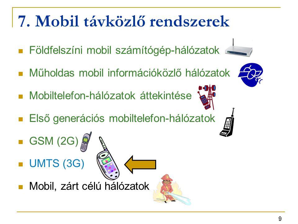 9 7. Mobil távközlő rendszerek Földfelszíni mobil számítógép-hálózatok Műholdas mobil információközlő hálózatok Mobiltelefon-hálózatok áttekintése Els