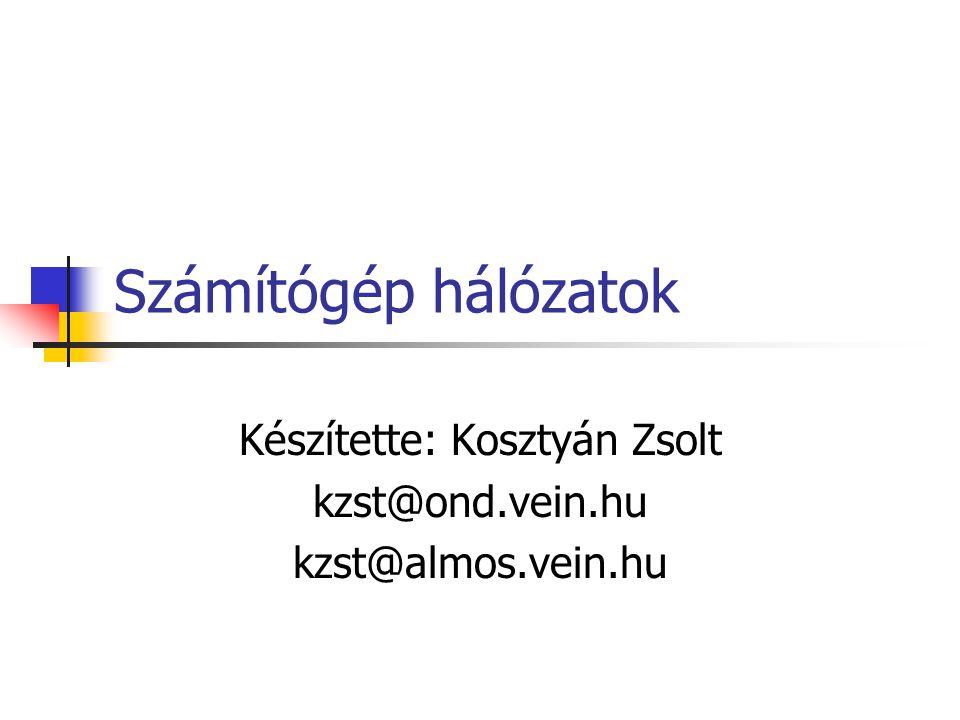 Számítógép hálózatok Készítette: Kosztyán Zsolt kzst@ond.vein.hu kzst@almos.vein.hu