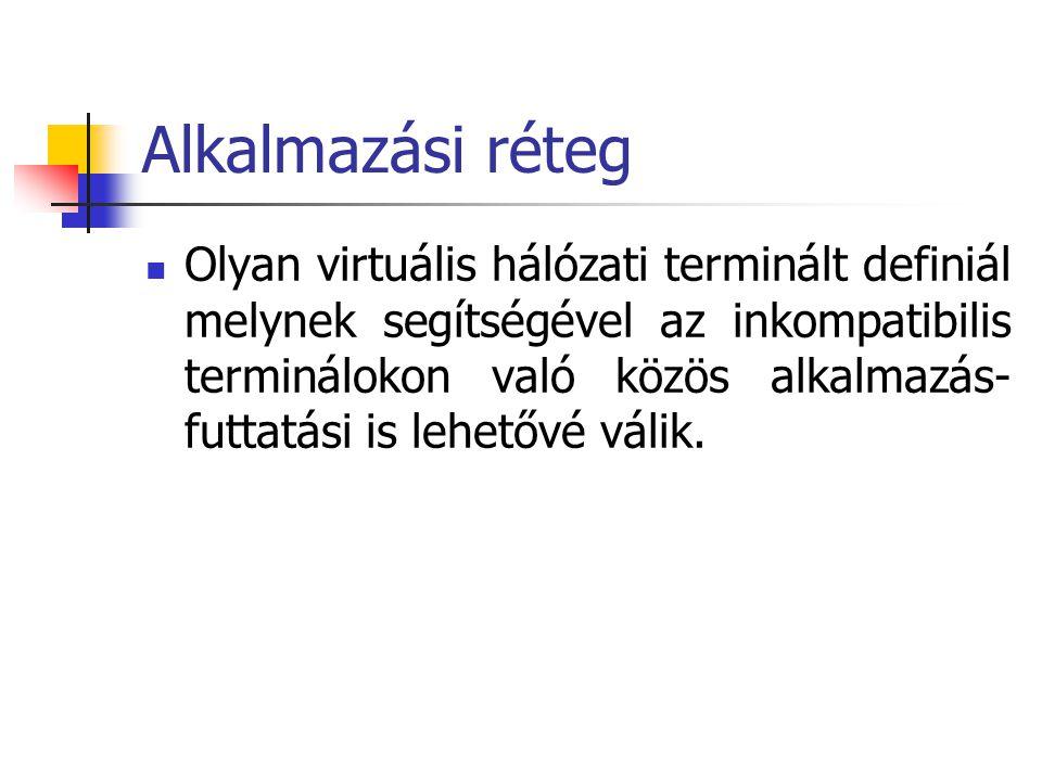 Alkalmazási réteg Olyan virtuális hálózati terminált definiál melynek segítségével az inkompatibilis terminálokon való közös alkalmazás- futtatási is