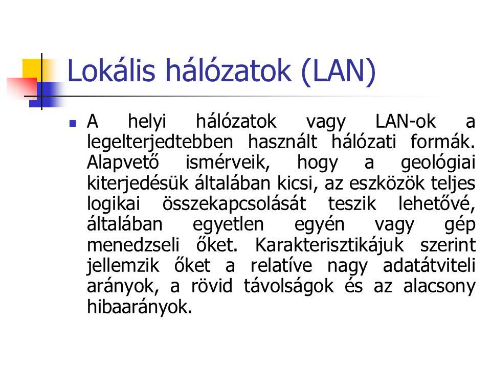 Lokális hálózatok (LAN) A helyi hálózatok vagy LAN-ok a legelterjedtebben használt hálózati formák. Alapvető ismérveik, hogy a geológiai kiterjedésük