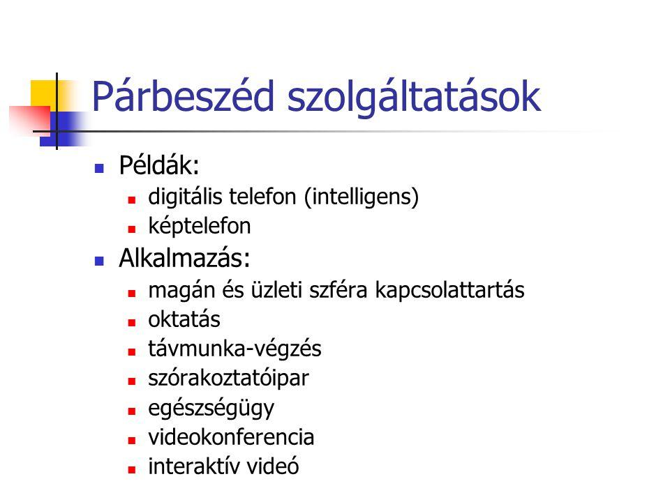 Párbeszéd szolgáltatások Példák: digitális telefon (intelligens) képtelefon Alkalmazás: magán és üzleti szféra kapcsolattartás oktatás távmunka-végzés szórakoztatóipar egészségügy videokonferencia interaktív videó