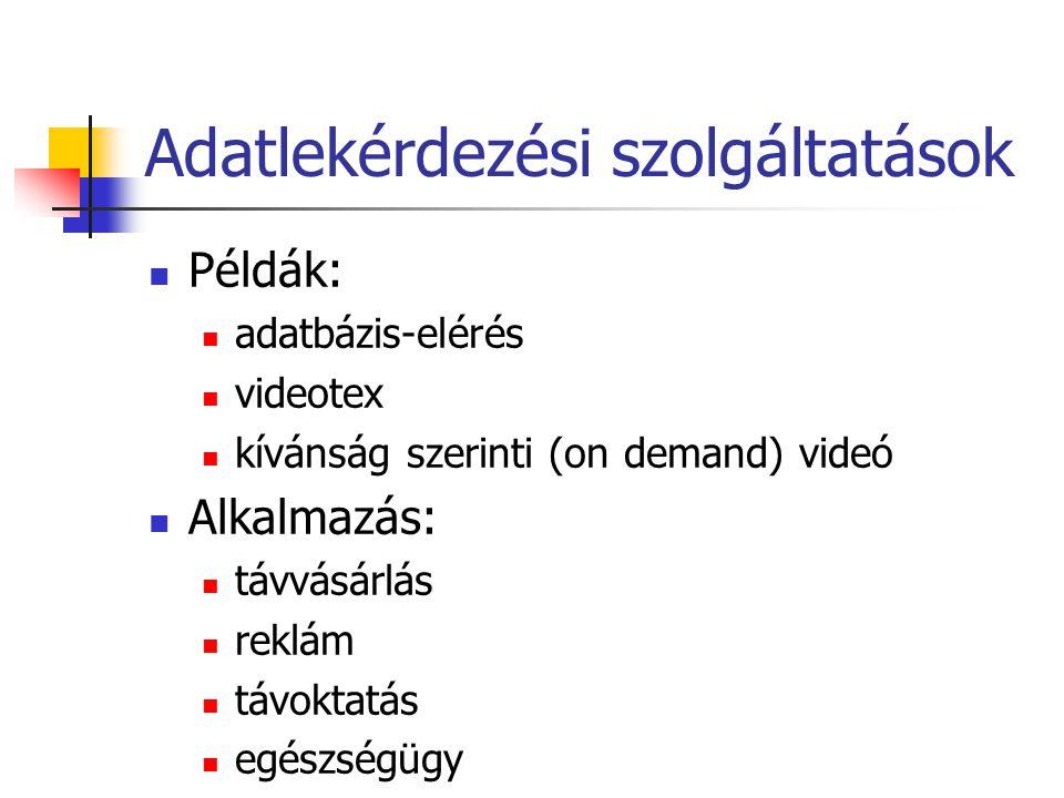 Adatlekérdezési szolgáltatások Példák: adatbázis-elérés videotex kívánság szerinti (on demand) videó Alkalmazás: távvásárlás reklám távoktatás egészségügy