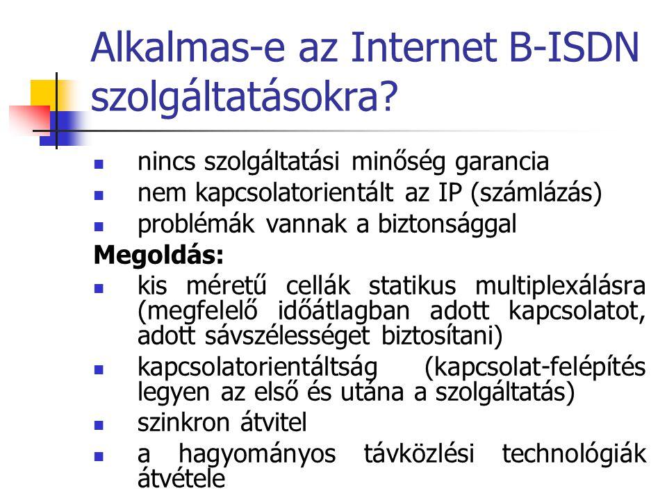 Alkalmas-e az Internet B-ISDN szolgáltatásokra? nincs szolgáltatási minőség garancia nem kapcsolatorientált az IP (számlázás) problémák vannak a bizto