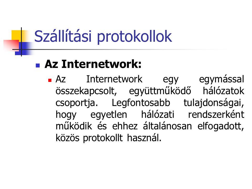 Szállítási protokollok Az Internetwork: Az Internetwork egy egymással összekapcsolt, együttműködő hálózatok csoportja. Legfontosabb tulajdonságai, hog