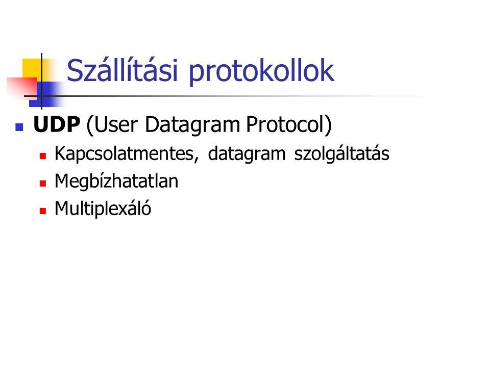 Szállítási protokollok UDP (User Datagram Protocol) Kapcsolatmentes, datagram szolgáltatás Megbízhatatlan Multiplexáló