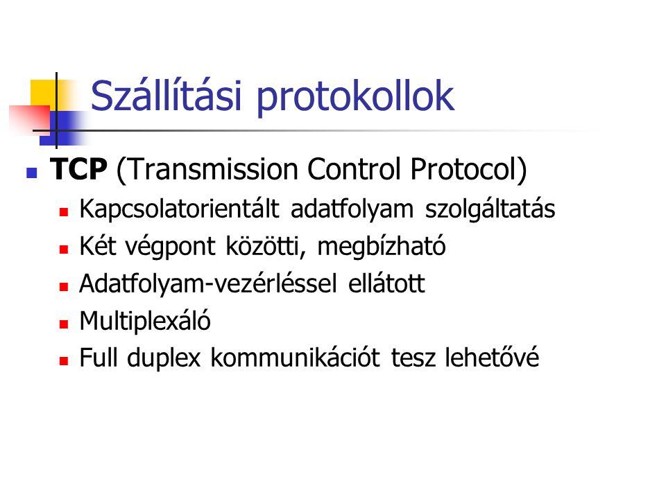 Szállítási protokollok TCP (Transmission Control Protocol) Kapcsolatorientált adatfolyam szolgáltatás Két végpont közötti, megbízható Adatfolyam-vezérléssel ellátott Multiplexáló Full duplex kommunikációt tesz lehetővé