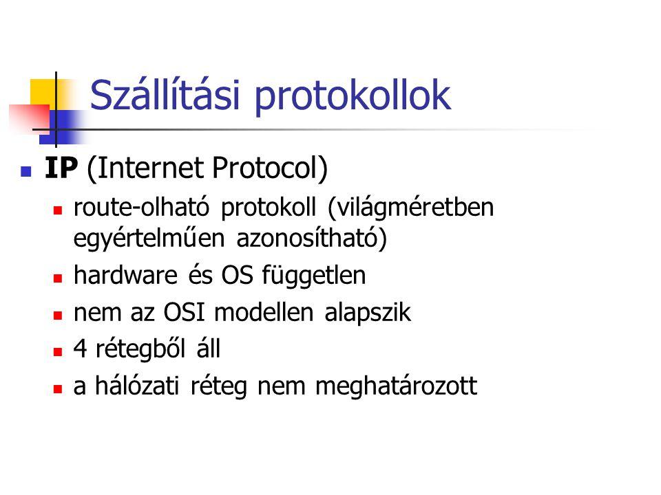 Szállítási protokollok IP (Internet Protocol) route-olható protokoll (világméretben egyértelműen azonosítható) hardware és OS független nem az OSI modellen alapszik 4 rétegből áll a hálózati réteg nem meghatározott