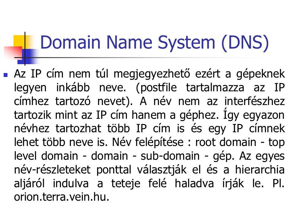 Domain Name System (DNS) Az IP cím nem túl megjegyezhető ezért a gépeknek legyen inkább neve. (postfile tartalmazza az IP címhez tartozó nevet). A név