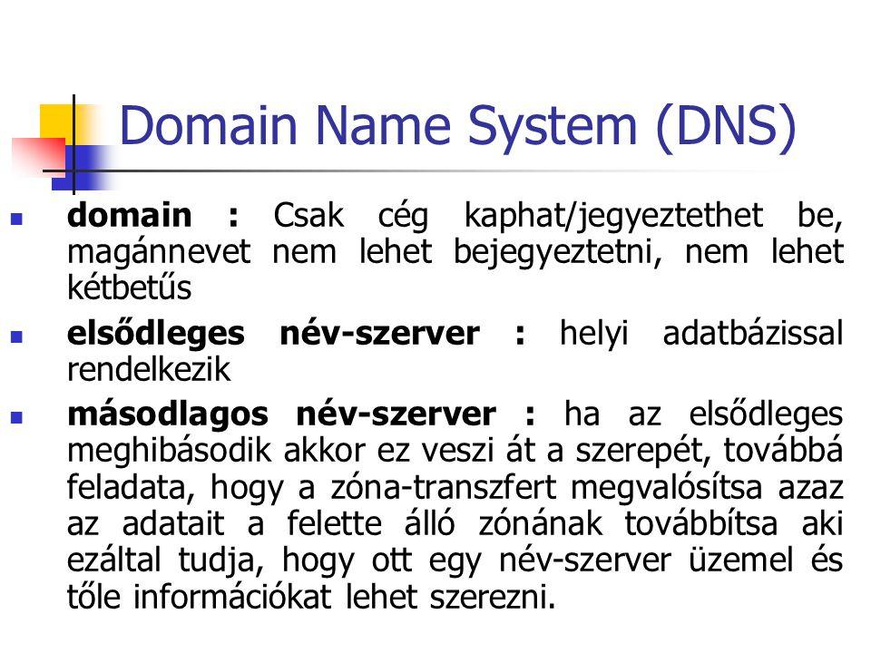 Domain Name System (DNS) domain : Csak cég kaphat/jegyeztethet be, magánnevet nem lehet bejegyeztetni, nem lehet kétbetűs elsődleges név-szerver : helyi adatbázissal rendelkezik másodlagos név-szerver : ha az elsődleges meghibásodik akkor ez veszi át a szerepét, továbbá feladata, hogy a zóna-transzfert megvalósítsa azaz az adatait a felette álló zónának továbbítsa aki ezáltal tudja, hogy ott egy név-szerver üzemel és tőle információkat lehet szerezni.