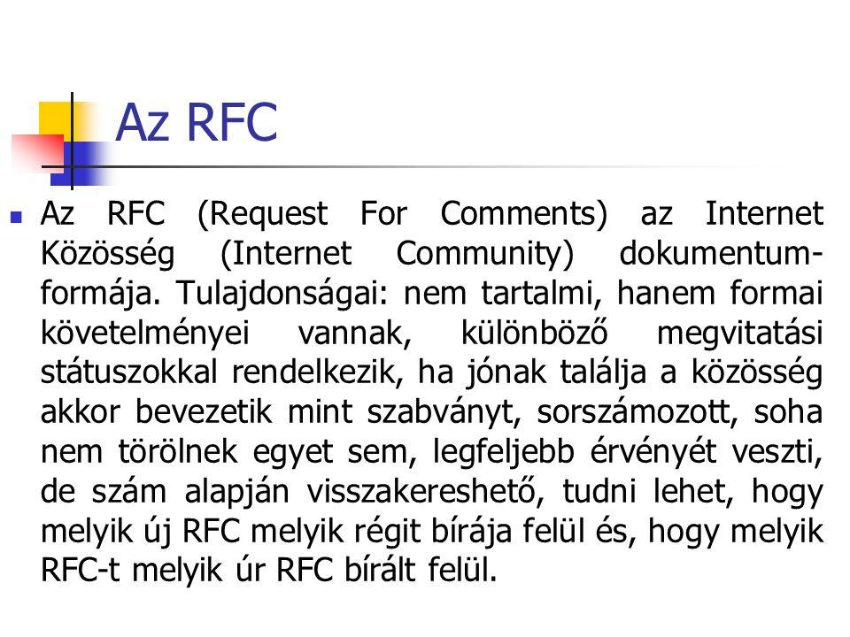Az RFC Az RFC (Request For Comments) az Internet Közösség (Internet Community) dokumentum- formája. Tulajdonságai: nem tartalmi, hanem formai követelm