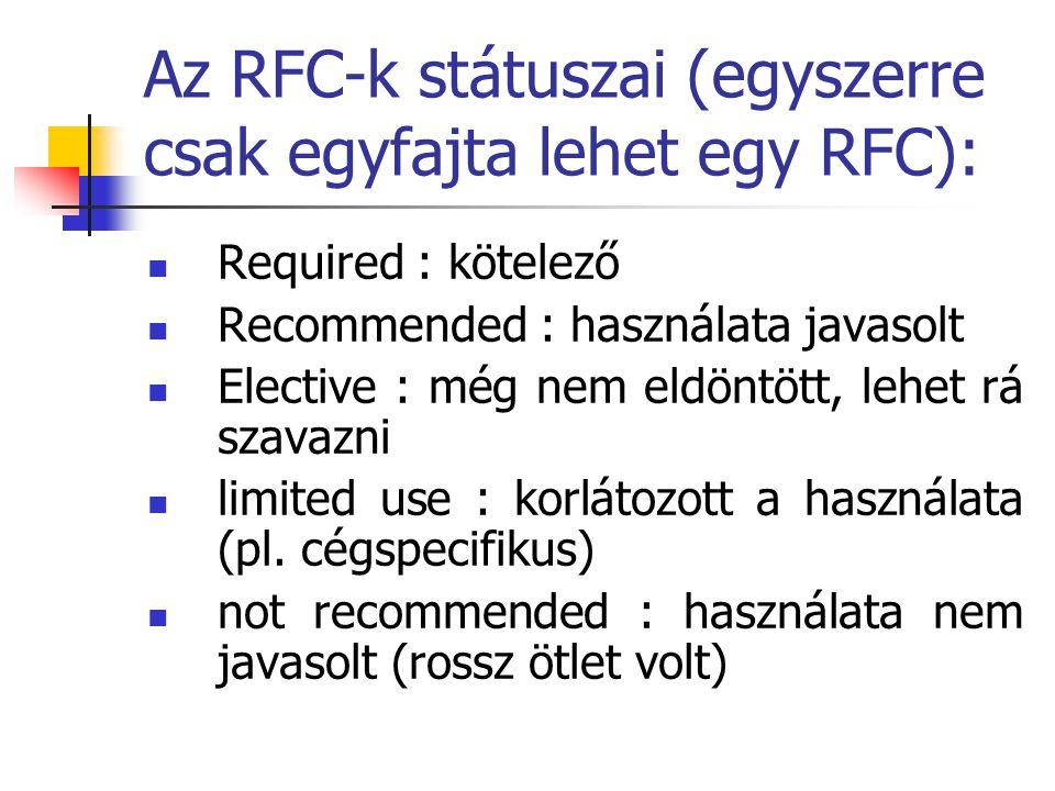 Az RFC-k státuszai (egyszerre csak egyfajta lehet egy RFC): Required : kötelező Recommended : használata javasolt Elective : még nem eldöntött, lehet rá szavazni limited use : korlátozott a használata (pl.