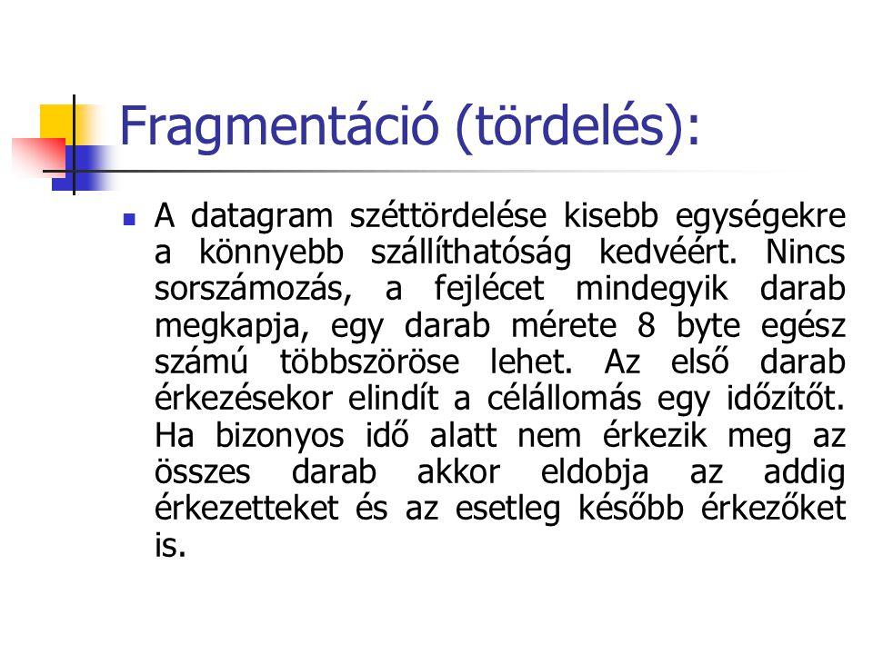 Fragmentáció (tördelés): A datagram széttördelése kisebb egységekre a könnyebb szállíthatóság kedvéért. Nincs sorszámozás, a fejlécet mindegyik darab