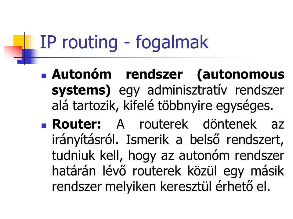 IP routing - fogalmak Autonóm rendszer (autonomous systems) egy adminisztratív rendszer alá tartozik, kifelé többnyire egységes. Router: A routerek dö