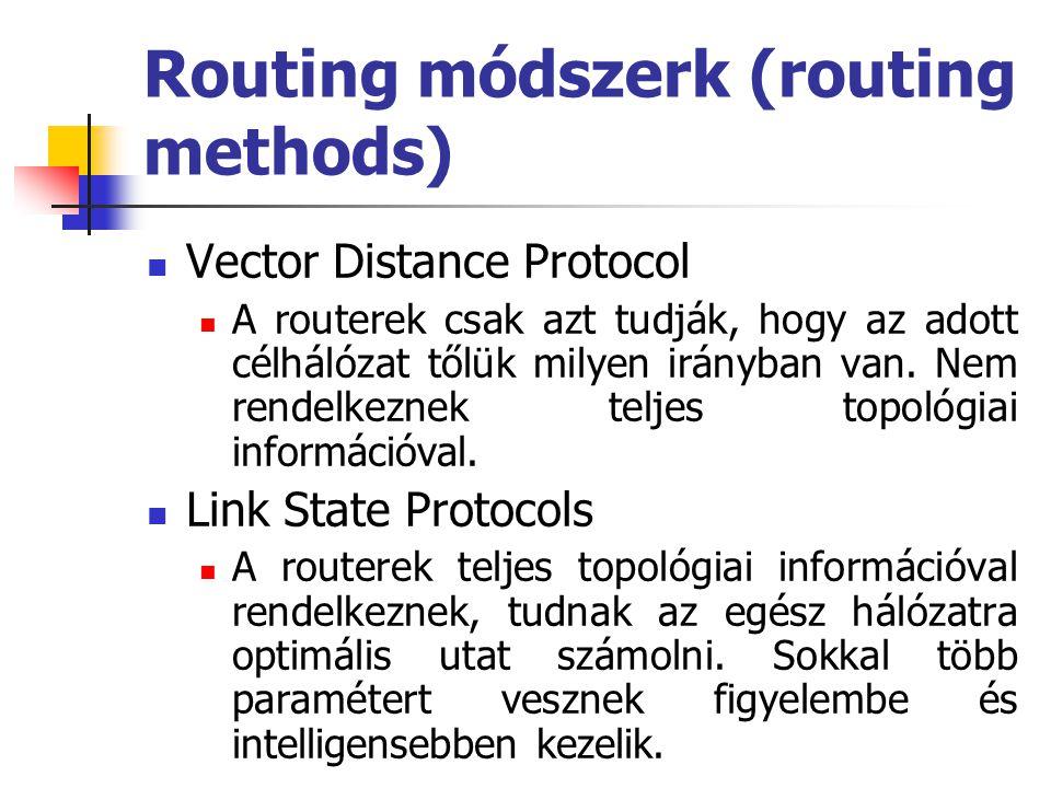 Routing módszerk (routing methods) Vector Distance Protocol A routerek csak azt tudják, hogy az adott célhálózat tőlük milyen irányban van.