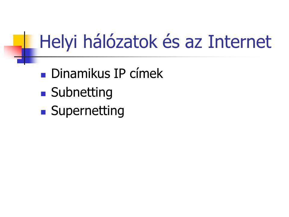 Helyi hálózatok és az Internet Dinamikus IP címek Subnetting Supernetting
