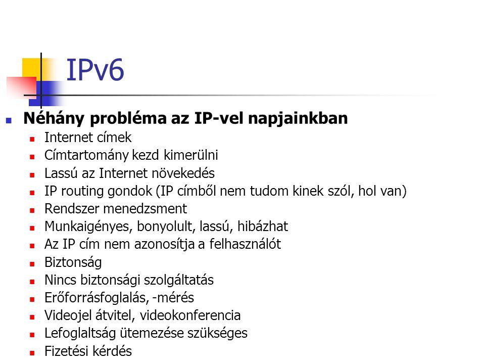 IPv6 Néhány probléma az IP-vel napjainkban Internet címek Címtartomány kezd kimerülni Lassú az Internet növekedés IP routing gondok (IP címből nem tudom kinek szól, hol van) Rendszer menedzsment Munkaigényes, bonyolult, lassú, hibázhat Az IP cím nem azonosítja a felhasználót Biztonság Nincs biztonsági szolgáltatás Erőforrásfoglalás, -mérés Videojel átvitel, videokonferencia Lefoglaltság ütemezése szükséges Fizetési kérdés