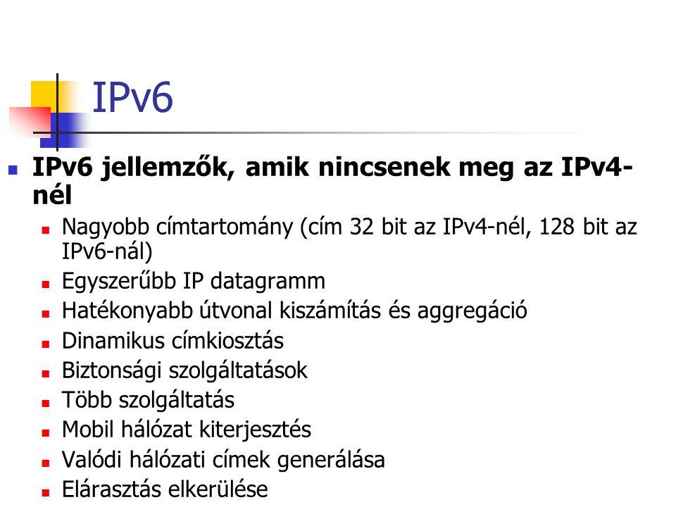 IPv6 IPv6 jellemzők, amik nincsenek meg az IPv4- nél Nagyobb címtartomány (cím 32 bit az IPv4-nél, 128 bit az IPv6-nál) Egyszerűbb IP datagramm Hatékonyabb útvonal kiszámítás és aggregáció Dinamikus címkiosztás Biztonsági szolgáltatások Több szolgáltatás Mobil hálózat kiterjesztés Valódi hálózati címek generálása Elárasztás elkerülése