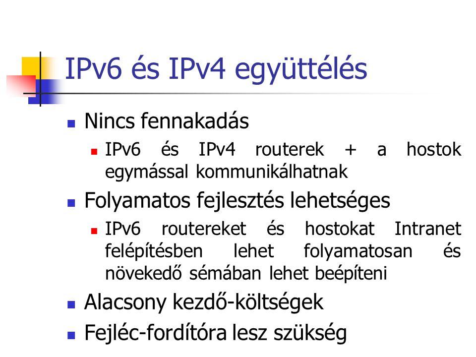 IPv6 és IPv4 együttélés Nincs fennakadás IPv6 és IPv4 routerek + a hostok egymással kommunikálhatnak Folyamatos fejlesztés lehetséges IPv6 routereket és hostokat Intranet felépítésben lehet folyamatosan és növekedő sémában lehet beépíteni Alacsony kezdő-költségek Fejléc-fordítóra lesz szükség