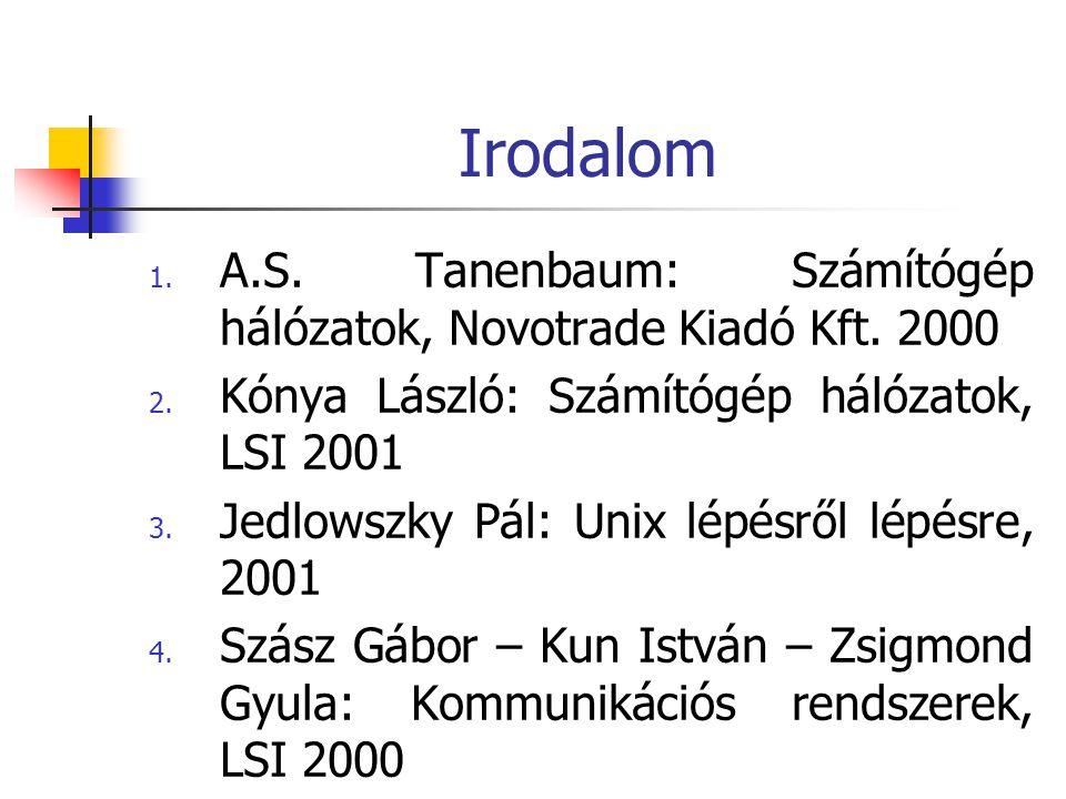 Irodalom 1. A.S. Tanenbaum: Számítógép hálózatok, Novotrade Kiadó Kft. 2000 2. Kónya László: Számítógép hálózatok, LSI 2001 3. Jedlowszky Pál: Unix lé