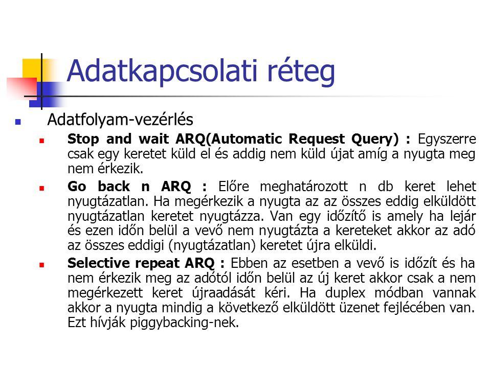 Adatkapcsolati réteg Adatfolyam-vezérlés Stop and wait ARQ(Automatic Request Query) : Egyszerre csak egy keretet küld el és addig nem küld újat amíg a nyugta meg nem érkezik.