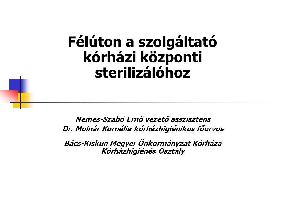Félúton a szolgáltató kórházi központi sterilizálóhoz Nemes-Szabó Ernő vezető asszisztens Dr.