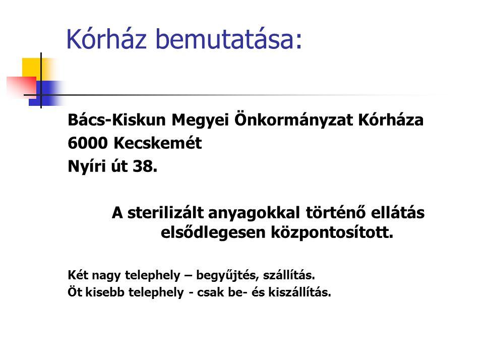 Kórház bemutatása: Bács-Kiskun Megyei Önkormányzat Kórháza 6000 Kecskemét Nyíri út 38.