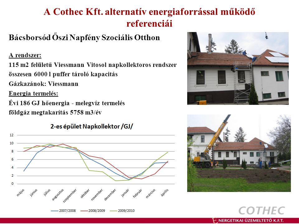 A Cothec Kft. alternatív energiaforrással működő referenciái Bácsborsód Őszi Napfény Szociális Otthon A rendszer: 115 m2 felületű Viessmann Vitosol na