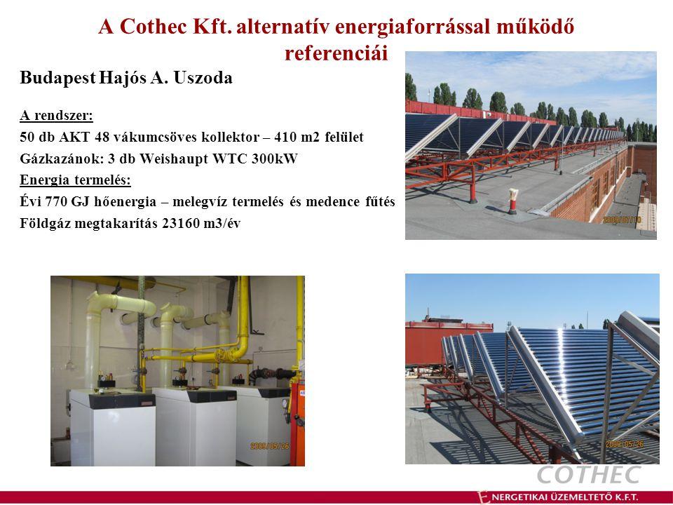 A Cothec Kft. alternatív energiaforrással működő referenciái Budapest Hajós A. Uszoda A rendszer: 50 db AKT 48 vákumcsöves kollektor – 410 m2 felület
