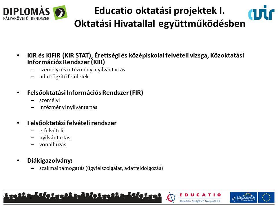 Educatio oktatási projektek I. Oktatási Hivatallal együttműködésben KIR és KIFIR (KIR STAT), Érettségi és középiskolai felvételi vizsga, Közoktatási I