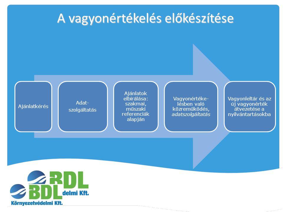 A vagyonértékelés előkészítése Ajánlatkérés Adat- szolgáltatás Ajánlatok elbírálása: szakmai, műszaki referenciák alapján Vagyonértéke- lésben való kö