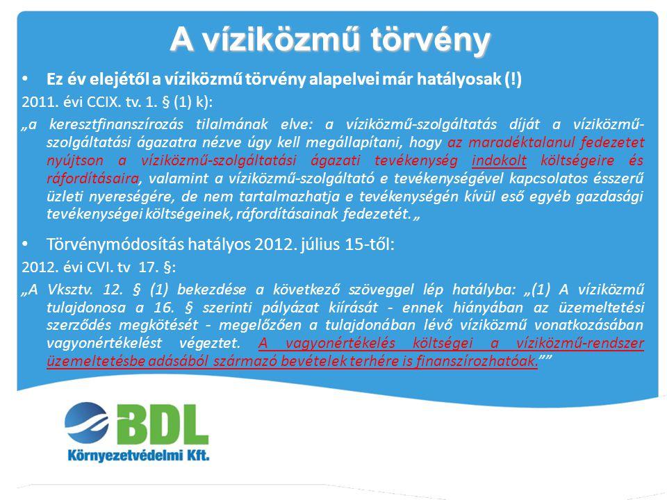 """Ez év elejétől a víziközmű törvény alapelvei már hatályosak (!) 2011. évi CCIX. tv. 1. § (1) k): """"a keresztfinanszírozás tilalmának elve: a víziközmű-"""