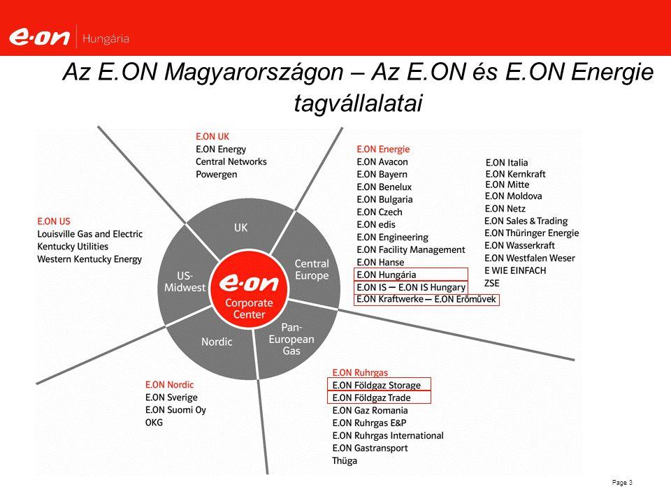 Page 4 E.ON Hungária főbb mutatószámai - 2006 Győr Nagykanizsa Pécs Debrecen Budapest Árbevétel € 1 626 millió Áram/gáz € 1 152 / 473 millió Munkavállalók4 748 Elosztott villamos energia15,6 TWH Erőművi kapacitás210 MW Hálózat hossza 97 759 km Áram/gáz 82976 / 17560 km Elosztott gáz 1,5 Mrd M 3 Ügyfelek 3.08 millió Áram/gáz 2.48 / 0.6 millió