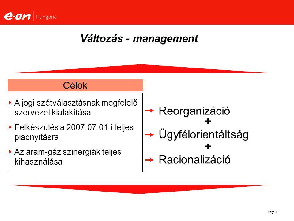 Page 7 Reorganizáció Változás - management Célok  A jogi szétválasztásnak megfelelő szervezet kialakítása  Felkészülés a 2007.07.01-i teljes piacnyi