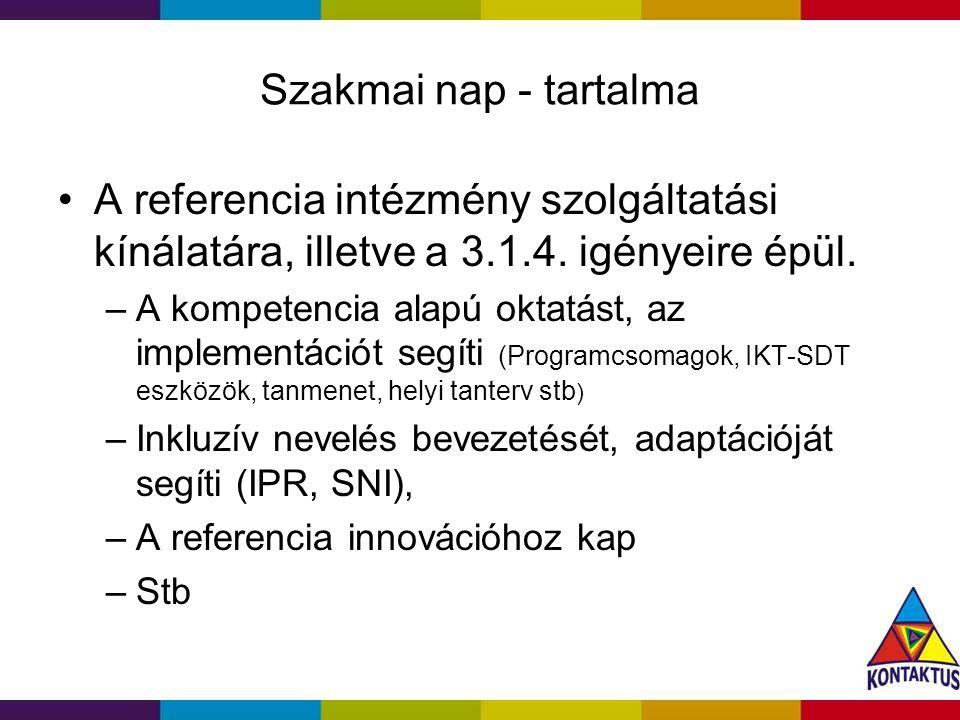 Szakmai nap - tartalma A referencia intézmény szolgáltatási kínálatára, illetve a 3.1.4.