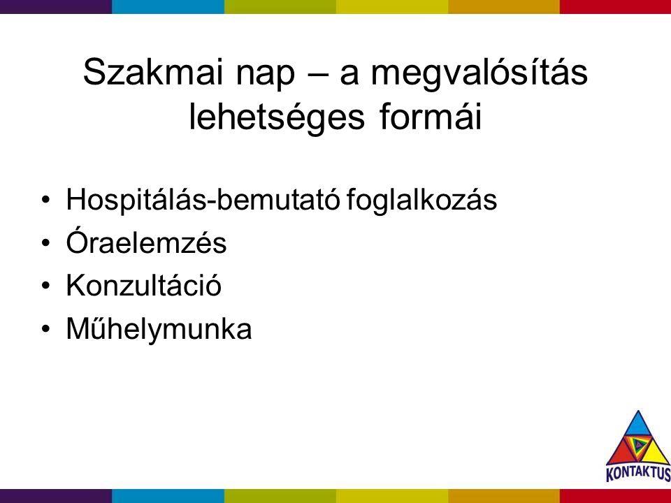 Szakmai nap – a megvalósítás lehetséges formái Hospitálás-bemutató foglalkozás Óraelemzés Konzultáció Műhelymunka