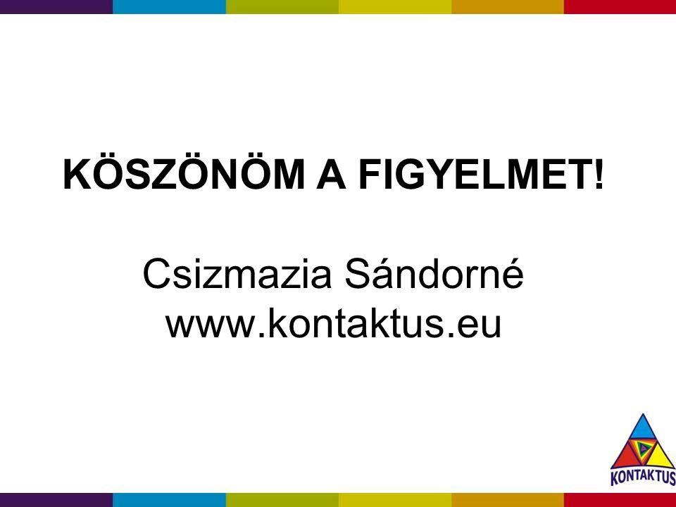 KÖSZÖNÖM A FIGYELMET! Csizmazia Sándorné www.kontaktus.eu