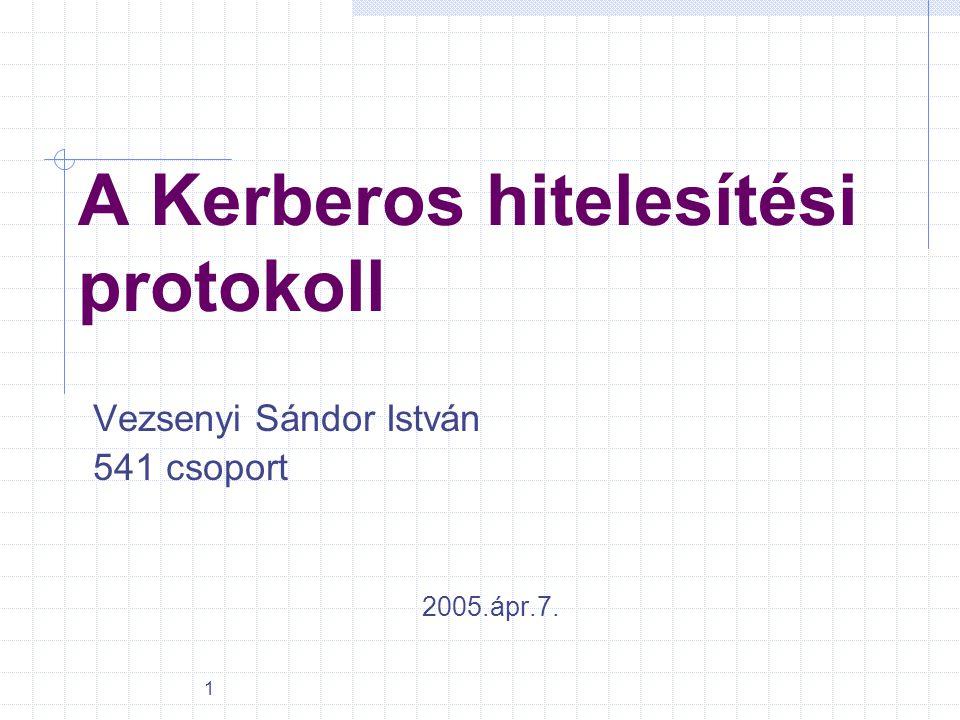 1 A Kerberos hitelesítési protokoll Vezsenyi Sándor István 541 csoport 2005.ápr.7.