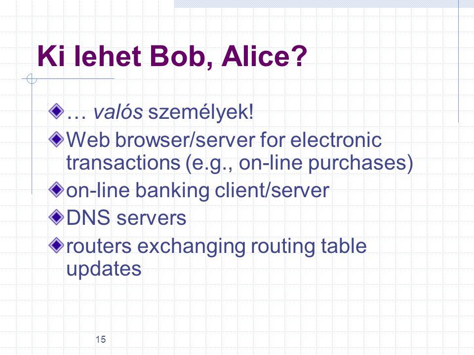 15 Ki lehet Bob, Alice? … valós személyek! Web browser/server for electronic transactions (e.g., on-line purchases) on-line banking client/server DNS