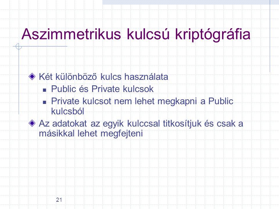 21 Aszimmetrikus kulcsú kriptógráfia Két különböző kulcs használata Public és Private kulcsok Private kulcsot nem lehet megkapni a Public kulcsból Az