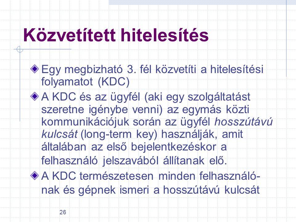 26 Közvetített hitelesítés Egy megbizható 3. fél közvetíti a hitelesítési folyamatot (KDC) A KDC és az ügyfél (aki egy szolgáltatást szeretne igénybe
