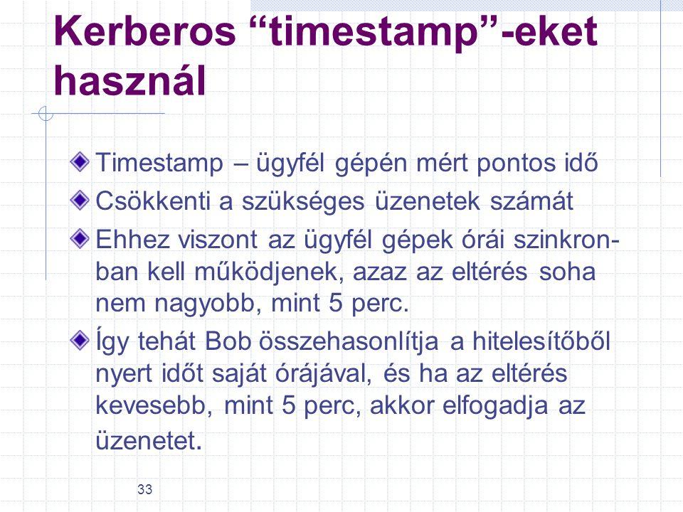 """33 Kerberos """"timestamp""""-eket használ Timestamp – ügyfél gépén mért pontos idő Csökkenti a szükséges üzenetek számát Ehhez viszont az ügyfél gépek órái"""
