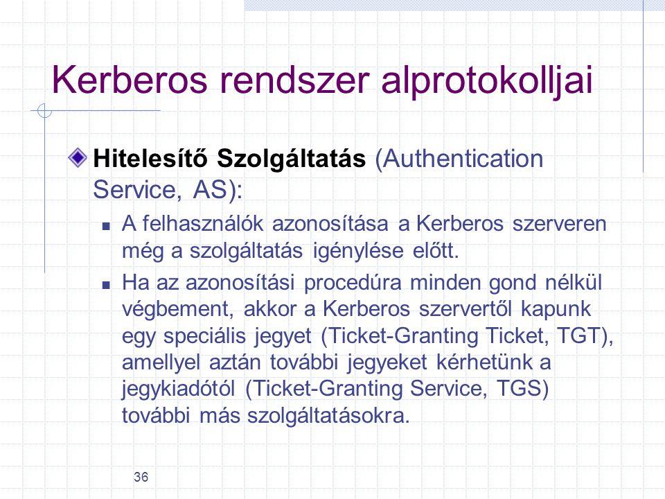 36 Kerberos rendszer alprotokolljai Hitelesítő Szolgáltatás (Authentication Service, AS): A felhasználók azonosítása a Kerberos szerveren még a szolgá
