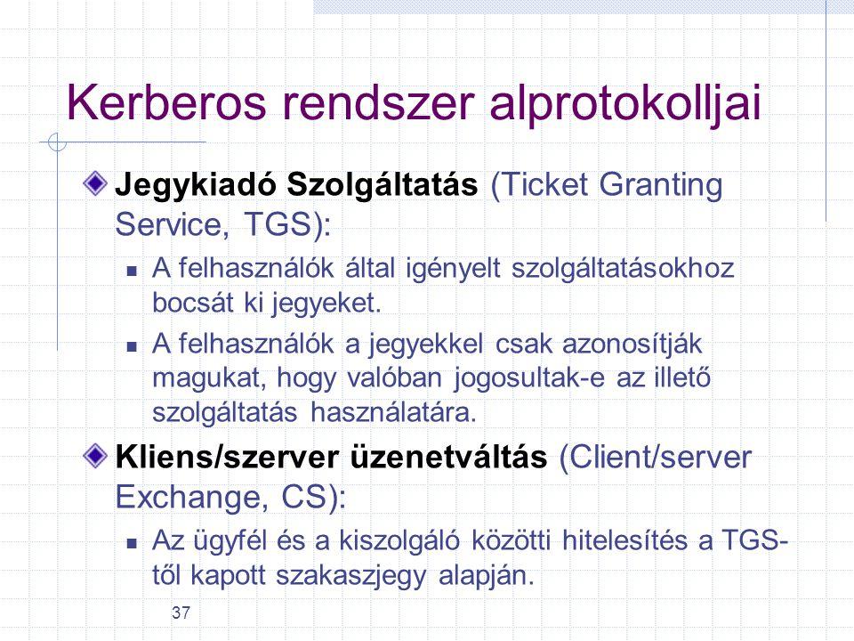 37 Kerberos rendszer alprotokolljai Jegykiadó Szolgáltatás (Ticket Granting Service, TGS): A felhasználók által igényelt szolgáltatásokhoz bocsát ki j