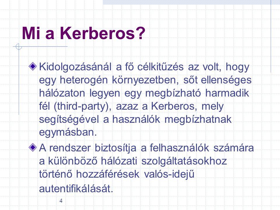 4 Mi a Kerberos? Kidolgozásánál a fő célkitűzés az volt, hogy egy heterogén környezetben, sőt ellenséges hálózaton legyen egy megbízható harmadik fél