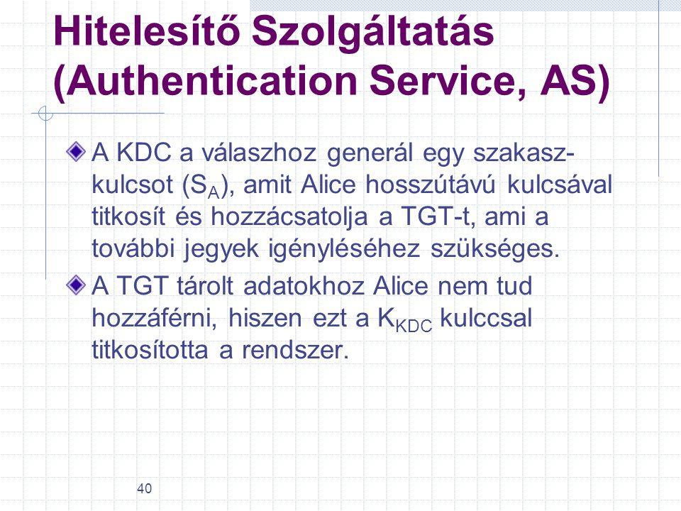 40 Hitelesítő Szolgáltatás (Authentication Service, AS) A KDC a válaszhoz generál egy szakasz- kulcsot (S A ), amit Alice hosszútávú kulcsával titkosí