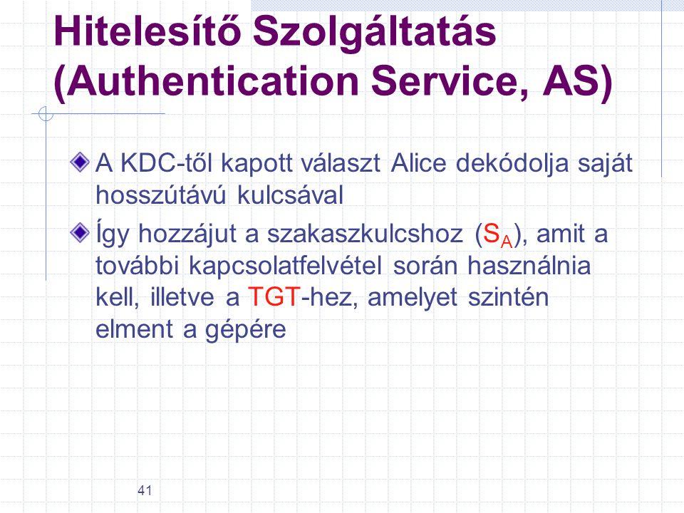 41 Hitelesítő Szolgáltatás (Authentication Service, AS) A KDC-től kapott választ Alice dekódolja saját hosszútávú kulcsával Így hozzájut a szakaszkulc